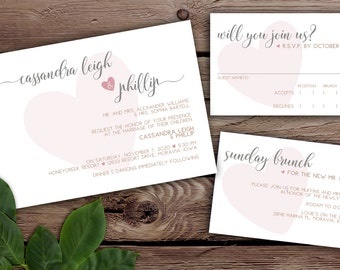 Floating Hearts Modern Wedding Invitation