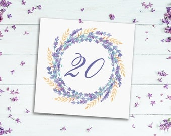 Watercolor Lavender Wreath Table Number Cards