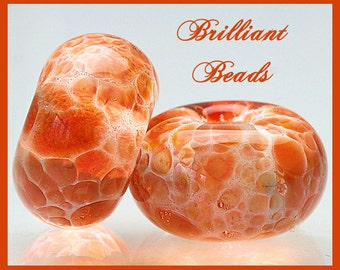 Tangerine Orange Big Hole Bead Pair...Handmade Lampwork Beads SRA