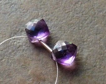 AAA Amethyst Faceted Diamond Briolette Drops- 8mm - Matched Pair