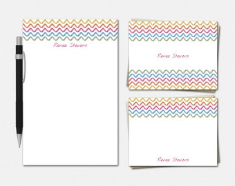 Chevron Stationery Set - Personalised Stationary - Personalized Notepad - Personalized Note Cards - Personalized Stationery for Her