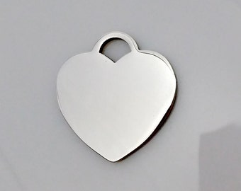 Ship from USA: 3pcs both side polished stainless steel heart lock Stamping Blanks plates engraving charm tool pendant hand stampable