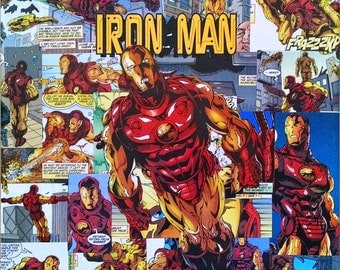 Iron Man Decoupage Comic Collage Canvas