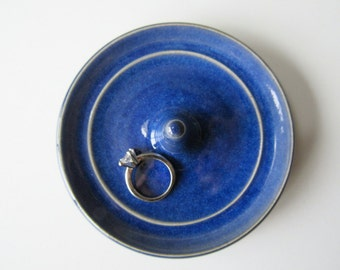 Indigo Blue Ring Dish, Wheel Thrown, Clay Pottery Ring Holder, ready to mail