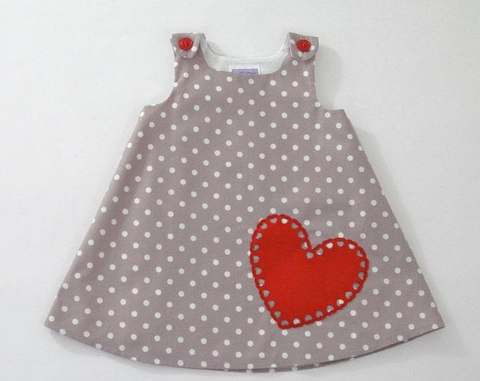 Valentine's Day Girls Dress Grey Dot w/ Red Heart, Newborn Dress, Baby Dress, Toddler Dress, Girls Dress, Girls Dresses, Size Newborn to 4T