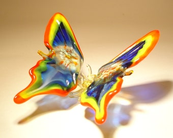 Blown Glass Figurine Art Insect Red, Yellow and Blue BUTTERFLY