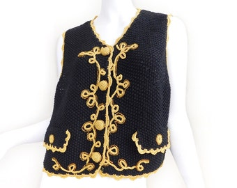 Sz M 90s Michael Simon Crochet Sweater Vest - Vintage Women's Ornate Black and Gold Oversized Loose Waistcoat - Holiday Sweater