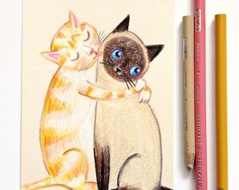 Original cat drawing FACE WASH orange tabby cat and siamese cat cute cat folk art original illustration by Tascha