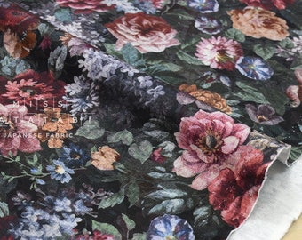 Japanese Fabric Ponte Knit - vintage flowers - 50cm