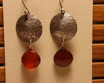 Hammered full Moon Earrings with Brown Chalcedony