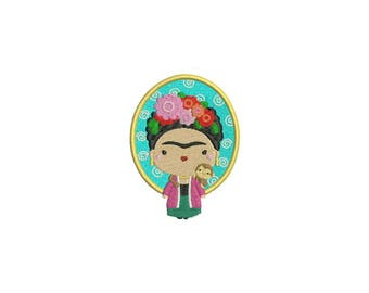 Frida Kahlo & Monkey Machine Embroidery File design 4x4 inch hoop Embroidery Patch