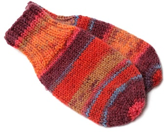 Orange Baby Mittens. No Thumb Baby Mitts. Infant Thumbless Hand Warmers. Boy or Girl Winter Mittens With or Without String. 6 to 9 Months