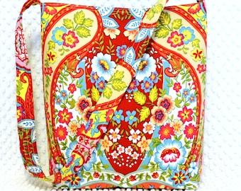 Handmade Red and Yellow Bohemian Paisley Fabric Handbag by BizzieLizzieHandmade