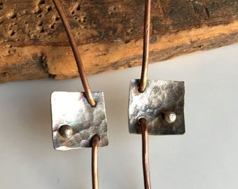MARCH MADNESS SALE Copper and Silver Filled Earrings, Artisan Earrings, Hammered Earrings, Silver Filled Squares, Architectural Earrings, Me