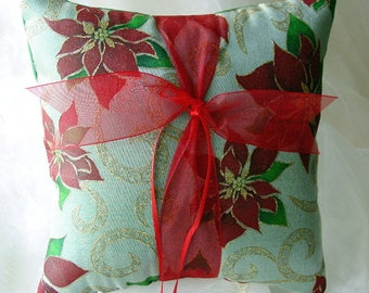 Happy Holidays-Christmas-New Year Wedding Ring Pillow-Green with Gold Swirls & Red Poinsettias-Holiday Wedding-Ring Bearer-Ring Barer-Pillow