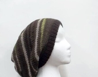 Knitted slouchy beanie hat wool  4993