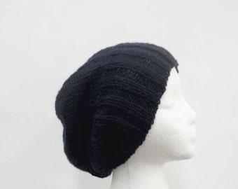 Navy blue slouchy beanie hat handmade men's hats, women's hats 5295