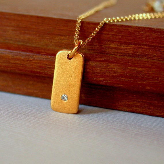 Diamond Tab Pendant. Gold Vermeil Pendant. Rectangle Pendant.