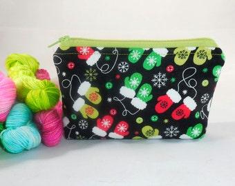 Festive MIttens mini zippy bag by AnniePurl
