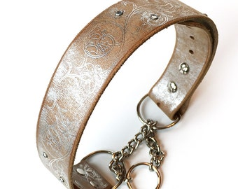 Rustic Silver Martingale Leather Dog Collar with Flower Etching and Small Rhinestones, Size L, to fit a 19-22in Neck, Seattle Handmade, OOAK