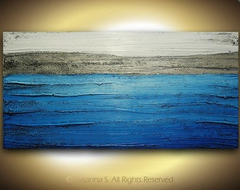 Original large textured art, abstract impressionist blue ocean water waves coastal painting, office or living room decor wall art on canvas