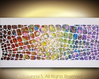 Original Large Abstract Contemporary Fine Art- Textured Impasto Modern Palette Knife Acrylic Painting by Susanna 48x24