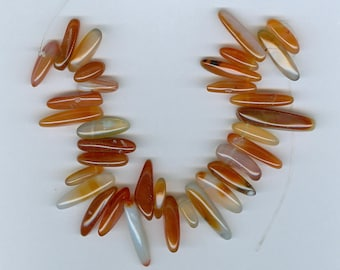 Carnelian Stick Beads Shades of Orange Carnelian Gemstone Top Drilled Spike Focal Bead 598T