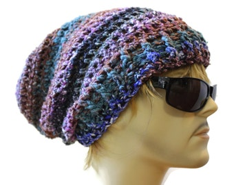Mens Hat Souchy Beanie  Crochet Slouch Beanie Hat One Of A Kind  Ready to Ship