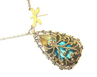 Dragonfly  Tear  ... Steampunk Dragonfly Teardrop   Necklace, Steampunk, One of a Kind