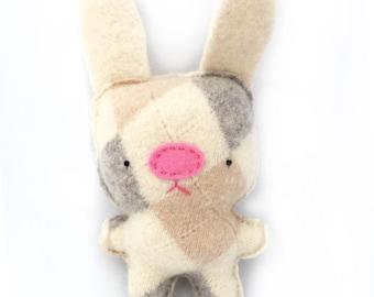 Ivory Argyle Rabbit - Recycled Cashmere Sweater Plush Toy