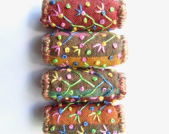 Boho Embroidered Fabric Beads with Flowering Vines and French Knots. Striped Earth Color Shot Cotton Wide Hole Fabric Beads for Jewelry.