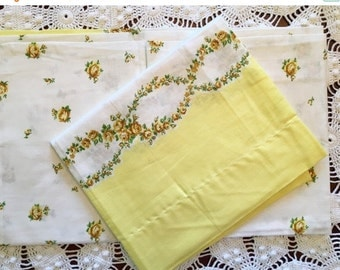 HOLIDAY SALE - Vintage Pillowcases - Cotton Feedsack Border Fabric - Yellow - Flowers - Standard Size - New - NOS