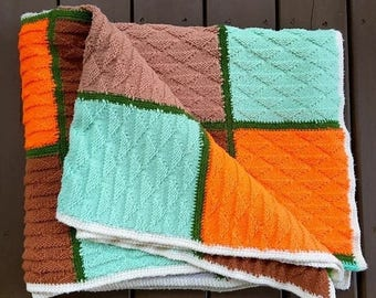 BIG SALE - Vintage Colorblock Blanket - Colorful Throw - Multi Color- Colorful Square - Green Orange Brown Aqua Fall Autumn