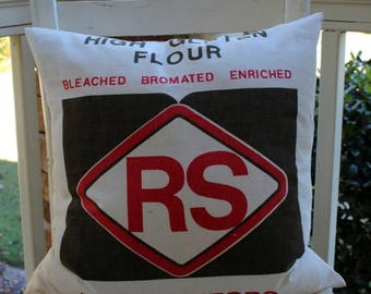 BIG SALE - RS Flour Sack Pillow Cover - Red and Brown - 18""