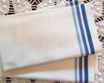 BIG SALE - Vintage Kitchen Towels - Blue Stripes on Natural - Martex - Set of 2 - New Old Stock- Unused