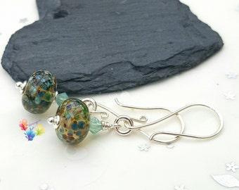 Sterling Silver Earrings, Beachcomber beads, Lampwork Beads, Rustic Jewellery, Gift fof Her, Beach Earrings, Swarovski Crystal Earrings
