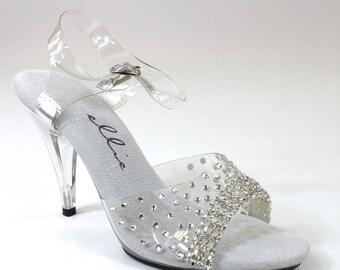 "405-Brook Rhinestone Clear Sandal 4"" Heel / Bikini Figure Competition Shoes"
