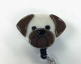 Pug Retractable Badge Holder Fused Glass.