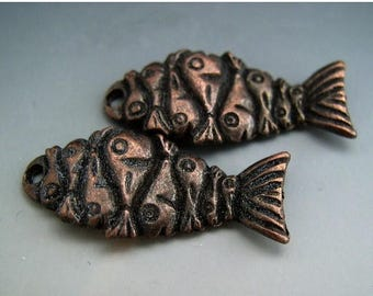 TAX SALE Bronze Wavy Fish Charms Pair Mykonos Greek Double Sided Unusual Design Naos
