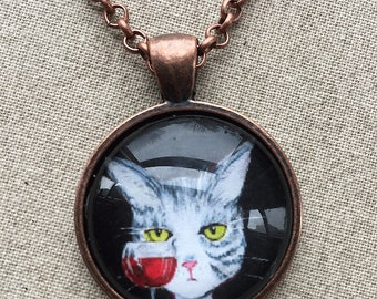 Kitty Necklace - Cat Necklace - Cat with Red Wine Necklace - Cat Jewelry - Cartoon Cat Pendant -  Funny Cat Pendant  - Gift for Cat Mom