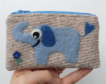 Zippered coin purse pouch purse light brown wool fabric with a needle felted elephant