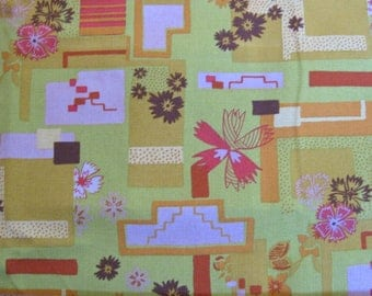 """repro. 60s twill fabric -- lime -meets- chartreuse green, pink, orange -- abstract, geometric, busy, quirky print --  46"""" x 58"""", 1.5 yards"""