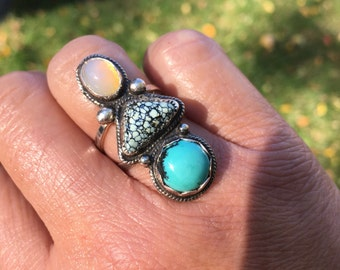 JUMA Jewelry - Triple Threat #3 Stone Turquoise Ring - From My Bench
