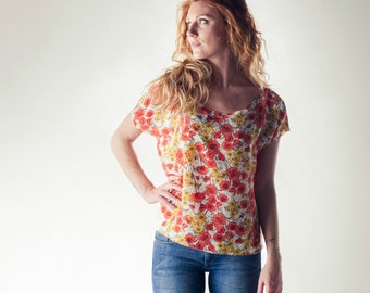 Silk top, Silk blouse, Oversize tee, loose top, Floral blouse, Blue shirt, Boat neck top, Short sleeve top, Summer top, Summer clothes, Boho
