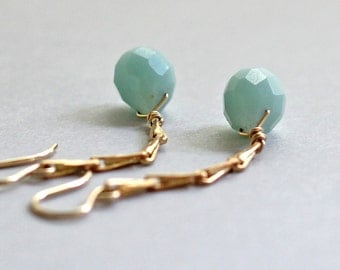 Gold Amazonite Earrings, Seafoam Long Earrings, Vintage Brass Chain, 14K Gold Fill, Dangle Earrings