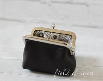 Black Leather Coin Purse Earbud Holder Case Rosary Case Small Clasp Change Purse Liberty of London