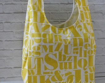 Reusable Grocery Bag Eco Friendly Market Bag Shopping Bag Letters Yellow Alphabets