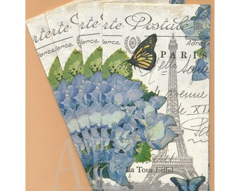 PN010 Paper Napkins by Fabrique ~ 4.5 x 8 - Beautiful French Collage, Eiffel Tower, Blue Flowers, Butterfly Set of 4