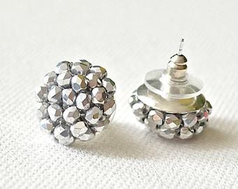 Silver Stud Earrings - silver earrings - silver posts - small silver earrings cluster earrings