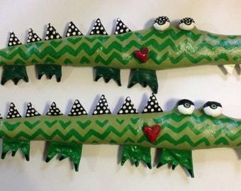 Soft Sculpture Alligator with Heart